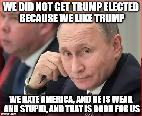 Sly Dog Putin | WE DID NOT GET TRUMP ELECTED BECAUSE WE LIKE TRUMP WE HATE AMERICA, AND HE IS WEAK AND STUPID, AND THAT IS GOOD FOR US | image tagged in russia,donald trump,trump russia,trump | made w/ Imgflip meme maker