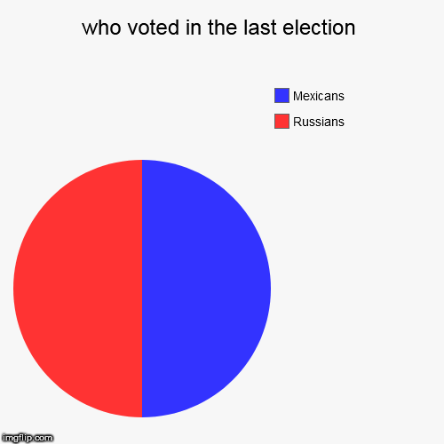 who voted in the last election | Russians, Mexicans | image tagged in funny,pie charts | made w/ Imgflip pie chart maker