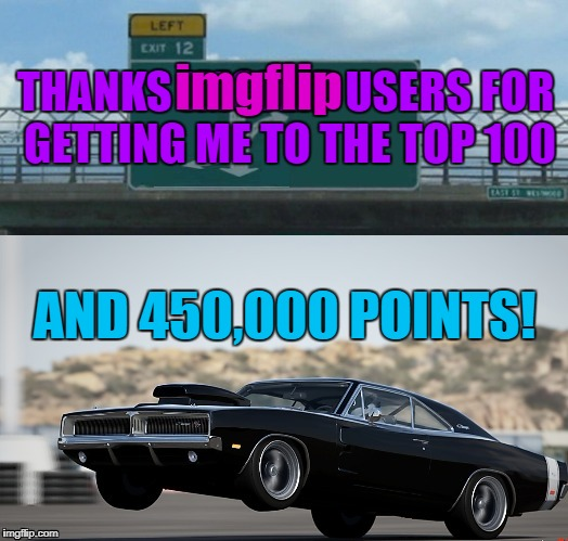 Thanks everybody for all the laughs! | THANKS IMGFLIP USERS FOR GETTING ME TO THE TOP 100 AND 450,000 POINTS! imgflip | image tagged in meme,thank you,imgflip points,imgflip community | made w/ Imgflip meme maker