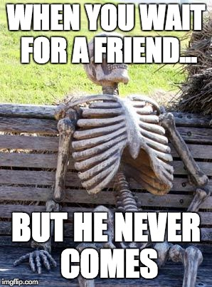 Waiting Skeleton Meme | WHEN YOU WAIT FOR A FRIEND... BUT HE NEVER COMES | image tagged in memes,waiting skeleton | made w/ Imgflip meme maker