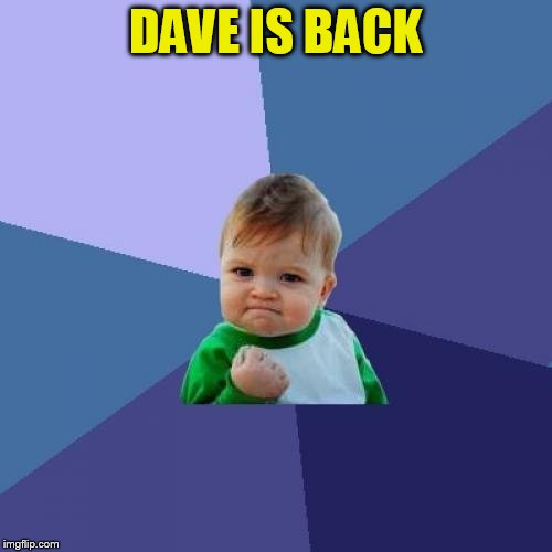 Success Kid Meme | DAVE IS BACK | image tagged in memes,success kid | made w/ Imgflip meme maker
