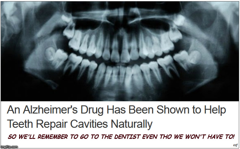 Alzheimer's and cavities | SO WE'LL REMEMBER TO GO TO THE DENTIST EVEN THO WE WON'T HAVE TO! | image tagged in alzheimers,alzheimer's | made w/ Imgflip meme maker