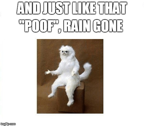 "AND JUST LIKE THAT ""POOF"", RAIN GONE 