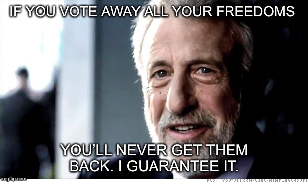 I Guarantee It | IF YOU VOTE AWAY ALL YOUR FREEDOMS YOU'LL NEVER GET THEM BACK. I GUARANTEE IT. | image tagged in memes,i guarantee it | made w/ Imgflip meme maker