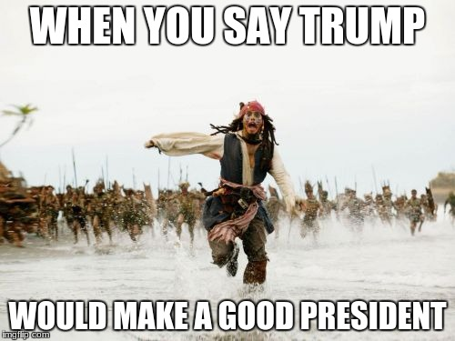 Jack Sparrow Being Chased Meme | WHEN YOU SAY TRUMP WOULD MAKE A GOOD PRESIDENT | image tagged in memes,jack sparrow being chased | made w/ Imgflip meme maker