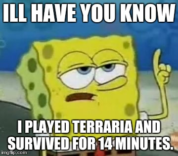 Ill Have You Know Spongebob Meme | ILL HAVE YOU KNOW I PLAYED TERRARIA AND SURVIVED FOR 14 MINUTES. | image tagged in memes,ill have you know spongebob | made w/ Imgflip meme maker