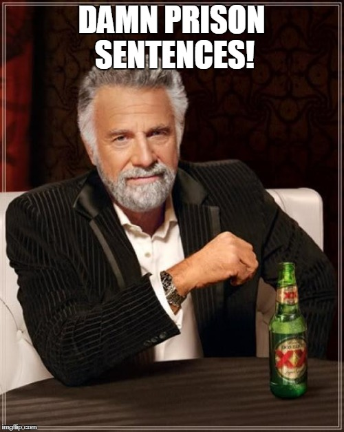 The Most Interesting Man In The World Meme | DAMN PRISON SENTENCES! | image tagged in memes,the most interesting man in the world | made w/ Imgflip meme maker
