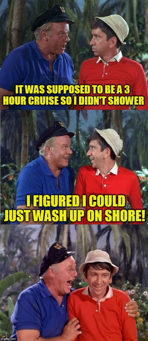 Gilligan's Island Week (From March 5th to 12th) A DrSarcasm Event and a Hokeewolf meme :) | IT WAS SUPPOSED TO BE A 3 HOUR CRUISE SO I DIDN'T SHOWER I FIGURED I COULD JUST WASH UP ON SHORE! | image tagged in gilligan bad pun,gilligans island week,gilligan's island,jokes,hokeewolf,drsarcasm | made w/ Imgflip meme maker