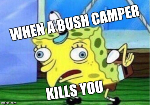 Mocking Spongebob Meme | WHEN A BUSH CAMPER KILLS YOU | image tagged in memes,mocking spongebob | made w/ Imgflip meme maker
