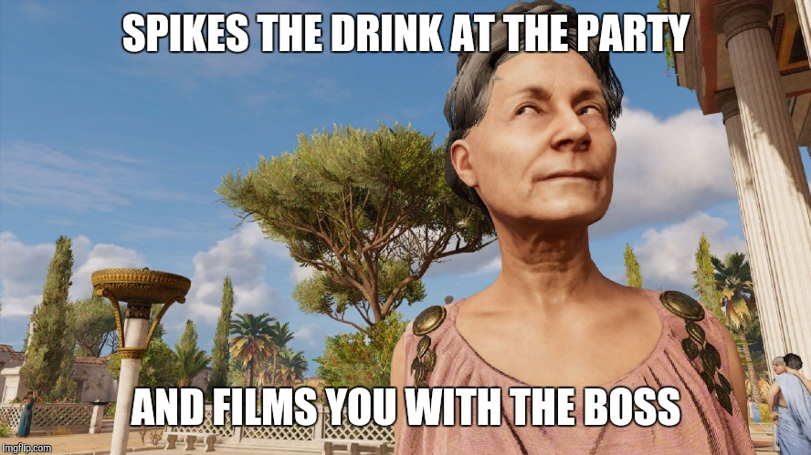 SPIKES THE DRINK AT THE PARTY AND FILMS YOU WITH THE BOSS | image tagged in sly roman | made w/ Imgflip meme maker