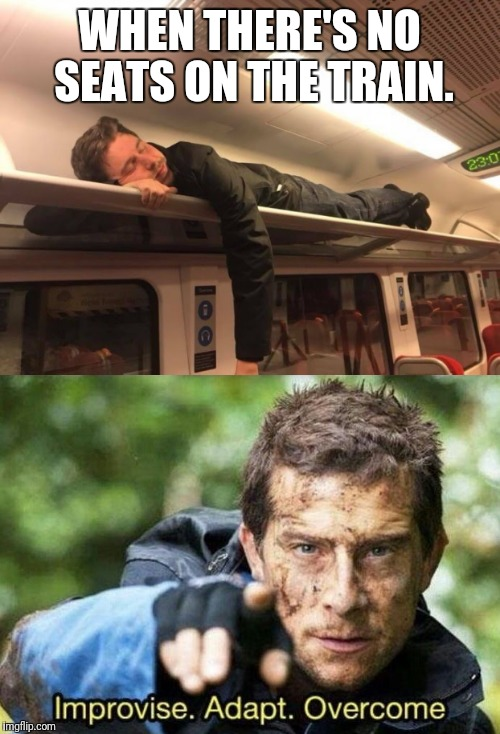 WHEN THERE'S NO SEATS ON THE TRAIN. | image tagged in funny memes,funny meme,funny,memes,bear grylls,hilarious memes | made w/ Imgflip meme maker