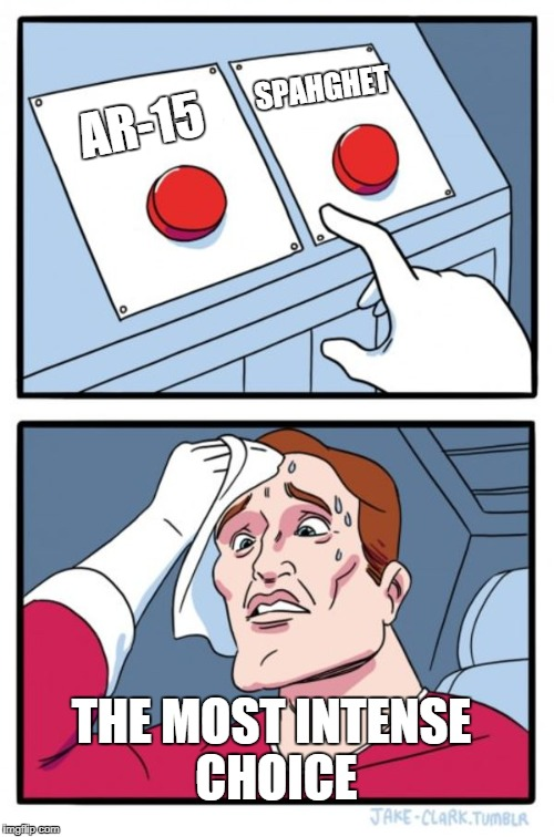 The Choice is Clear | AR-15 SPAHGHET THE MOST INTENSE CHOICE | image tagged in memes,two buttons,spaghet | made w/ Imgflip meme maker
