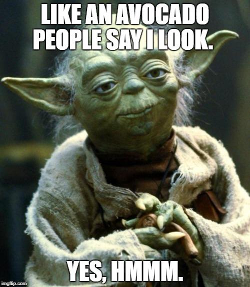 Star Wars Yoda Meme | LIKE AN AVOCADO PEOPLE SAY I LOOK. YES, HMMM. | image tagged in memes,star wars yoda | made w/ Imgflip meme maker