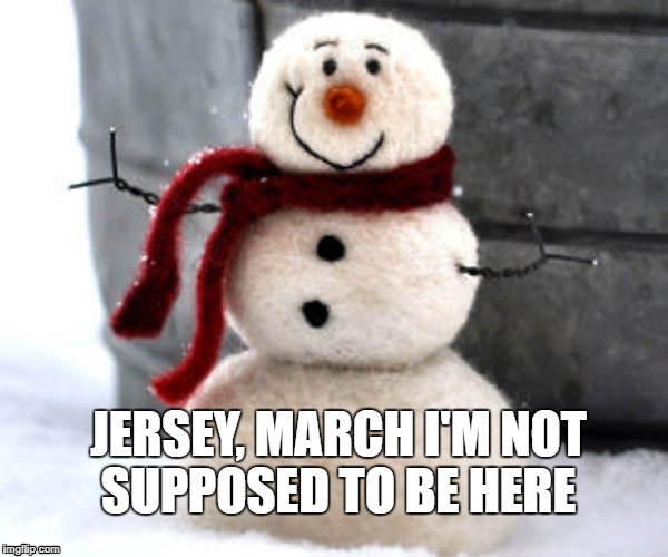 Snowman in march | JERSEY, MARCH I'M NOT SUPPOSED TO BE HERE | image tagged in new jersey memory page,lisa pa,dave griswold,u r home realty | made w/ Imgflip meme maker