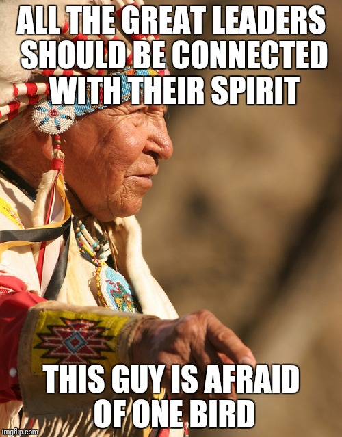 ALL THE GREAT LEADERS SHOULD BE CONNECTED WITH THEIR SPIRIT THIS GUY IS AFRAID OF ONE BIRD | made w/ Imgflip meme maker