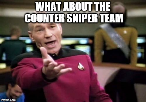 Picard Wtf Meme | WHAT ABOUT THE COUNTER SNIPER TEAM | image tagged in memes,picard wtf | made w/ Imgflip meme maker