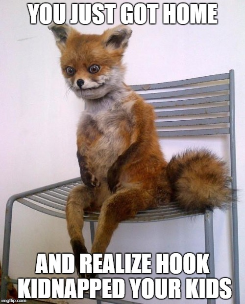 Stoned Fox | YOU JUST GOT HOME AND REALIZE HOOK KIDNAPPED YOUR KIDS | image tagged in stoned fox | made w/ Imgflip meme maker