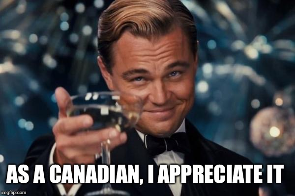 Leonardo Dicaprio Cheers Meme | AS A CANADIAN, I APPRECIATE IT | image tagged in memes,leonardo dicaprio cheers | made w/ Imgflip meme maker