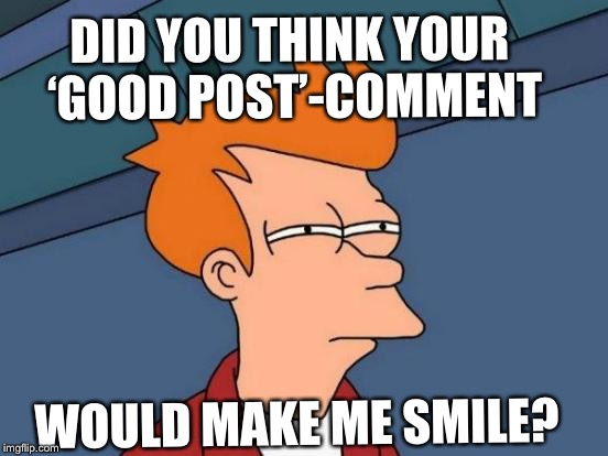 Futurama Fry Meme | DID YOU THINK YOUR 'GOOD POST'-COMMENT WOULD MAKE ME SMILE? | image tagged in memes,futurama fry | made w/ Imgflip meme maker