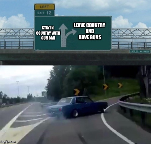 Americans need gun rights | STAY IN COUNTRY WITH GUN BAN LEAVE COUNTRY AND HAVE GUNS | image tagged in memes,left exit 12 off ramp,gun control,gun rights,guns,ban | made w/ Imgflip meme maker