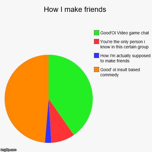 How I make friends | Good' ol insult based commedy, How i'm actually supposed to make friends, You're the only person i know in this certain | image tagged in funny,pie charts | made w/ Imgflip pie chart maker