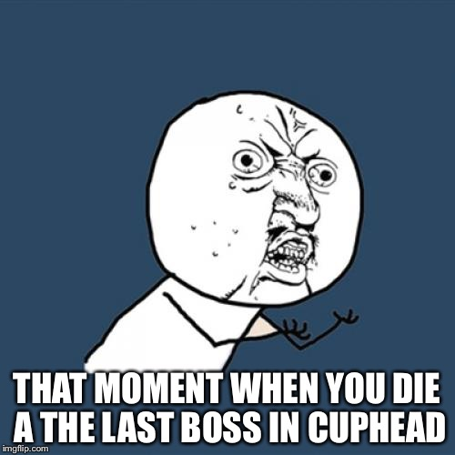Y U No Meme | THAT MOMENT WHEN YOU DIE A THE LAST BOSS IN CUPHEAD | image tagged in memes,y u no | made w/ Imgflip meme maker