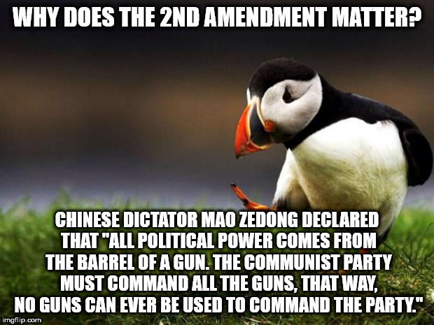 "Unpopular Opinion Puffin Meme | WHY DOES THE 2ND AMENDMENT MATTER? CHINESE DICTATOR MAO ZEDONG DECLARED THAT ""ALL POLITICAL POWER COMES FROM THE BARREL OF A GUN. THE COMMUN 
