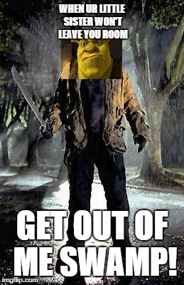 Jason | WHEN UR LITTLE SISTER WON'T LEAVE YOU ROOM GET OUT OF ME SWAMP! | image tagged in jason | made w/ Imgflip meme maker