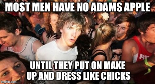 MOST MEN HAVE NO ADAMS APPLE UNTIL THEY PUT ON MAKE UP AND DRESS LIKE CHICKS | image tagged in sudden clarity clarence,memes | made w/ Imgflip meme maker