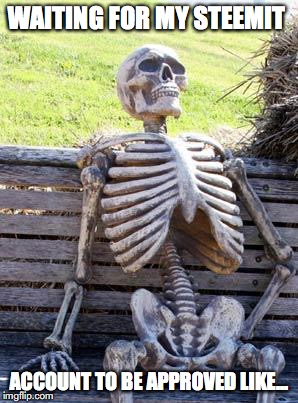 Waiting Skeleton Meme | WAITING FOR MY STEEMIT ACCOUNT TO BE APPROVED LIKE... | image tagged in memes,waiting skeleton | made w/ Imgflip meme maker