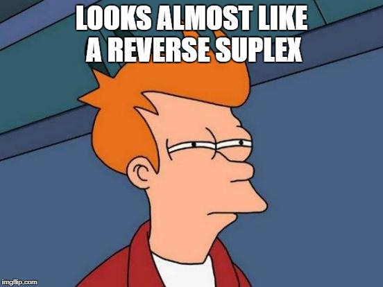 Futurama Fry Meme | LOOKS ALMOST LIKE A REVERSE SUPLEX | image tagged in memes,futurama fry | made w/ Imgflip meme maker