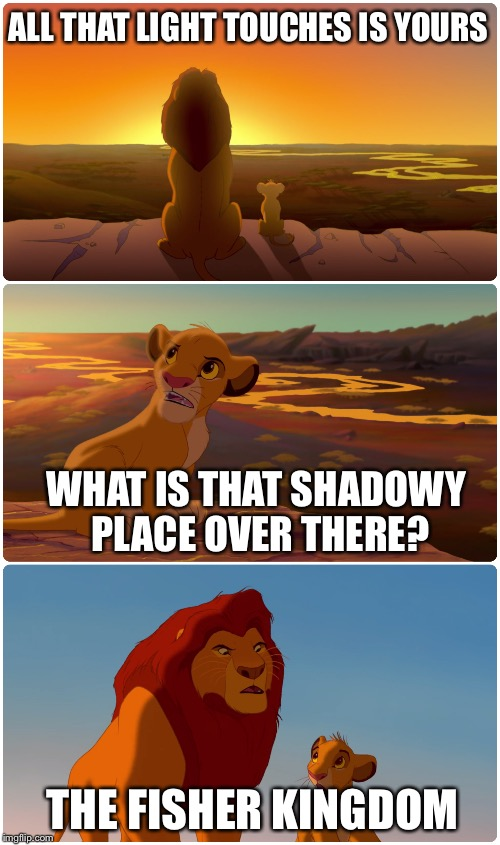 Lion King Meme | ALL THAT LIGHT TOUCHES IS YOURS WHAT IS THAT SHADOWY PLACE OVER THERE? THE FISHER KINGDOM | image tagged in lion king meme | made w/ Imgflip meme maker