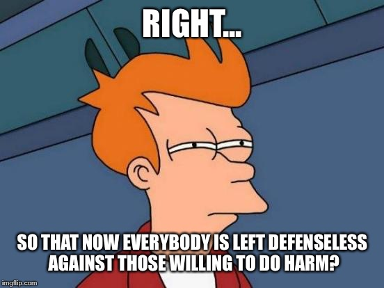 Futurama Fry Meme | RIGHT... SO THAT NOW EVERYBODY IS LEFT DEFENSELESS AGAINST THOSE WILLING TO DO HARM? | image tagged in memes,futurama fry,sexy | made w/ Imgflip meme maker