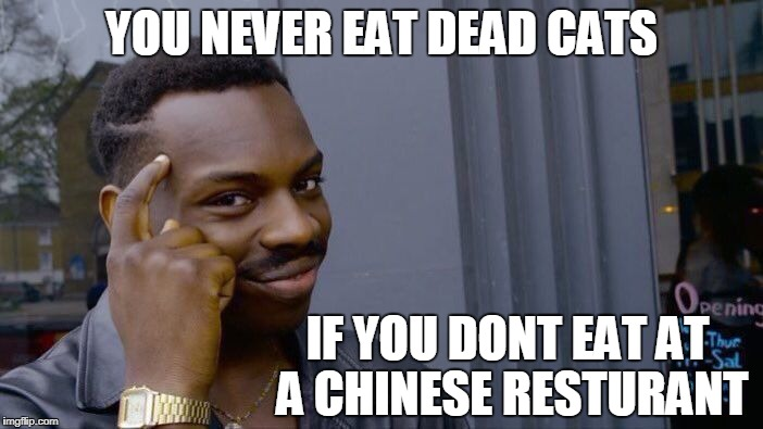 dead cats | YOU NEVER EAT DEAD CATS IF YOU DONT EAT AT A CHINESE RESTURANT | image tagged in memes,roll safe think about it,best memes | made w/ Imgflip meme maker