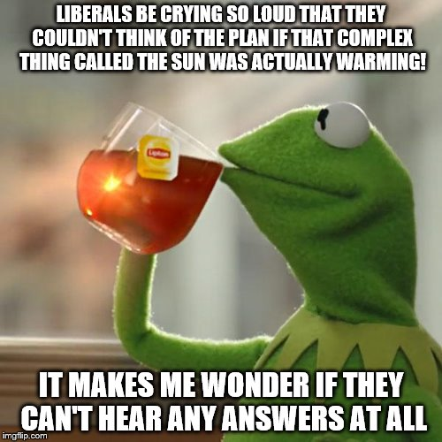 But Thats None Of My Business Meme | LIBERALS BE CRYING SO LOUD THAT THEY COULDN'T THINK OF THE PLAN IF THAT COMPLEX THING CALLED THE SUN WAS ACTUALLY WARMING! IT MAKES ME WONDE | image tagged in memes,but thats none of my business,kermit the frog | made w/ Imgflip meme maker
