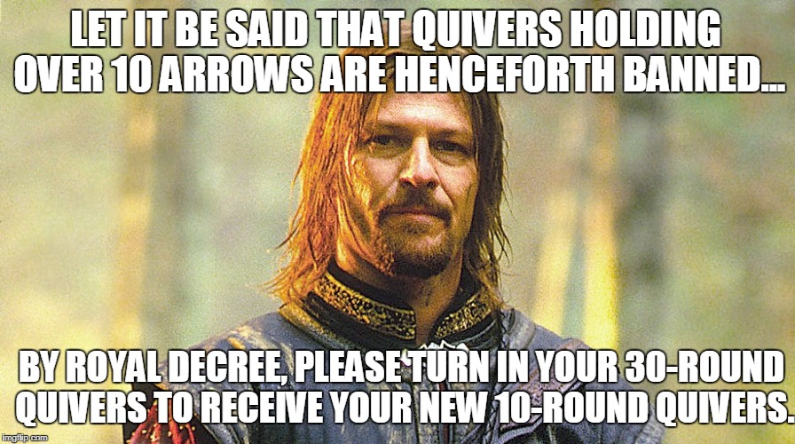 How stupid, so stupid | LET IT BE SAID THAT QUIVERS HOLDING OVER 10 ARROWS ARE HENCEFORTH BANNED... BY ROYAL DECREE, PLEASE TURN IN YOUR 30-ROUND QUIVERS TO RECEIVE | image tagged in sean bean | made w/ Imgflip meme maker