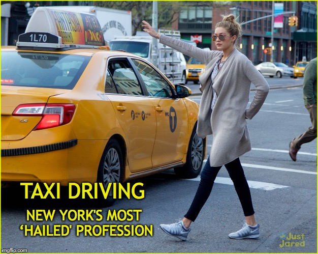 Inspired by DashHopes | TAXI DRIVING NEW YORK'S MOST 'HAILED' PROFESSION | image tagged in taxi,hail,dashhopes | made w/ Imgflip meme maker