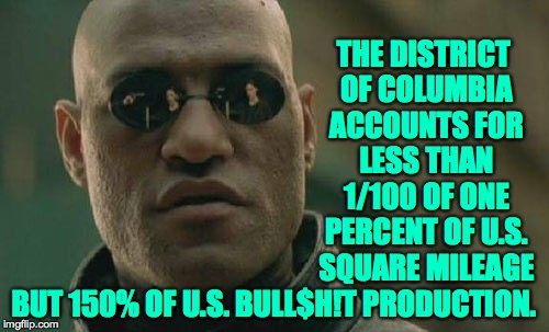 Matrix Morpheus Meme | THE DISTRICT OF COLUMBIA ACCOUNTS FOR LESS THAN 1/100 OF ONE PERCENT OF U.S. SQUARE MILEAGE BUT 150% OF U.S. BULL$H!T PRODUCTION. | image tagged in memes,matrix morpheus | made w/ Imgflip meme maker