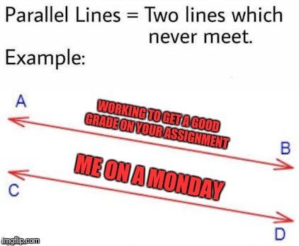 Mondays are just the Worst Days of the week | WORKING TO GET A GOOD GRADE ON YOUR ASSIGNMENT ME ON A MONDAY | image tagged in parellel lines,memes | made w/ Imgflip meme maker