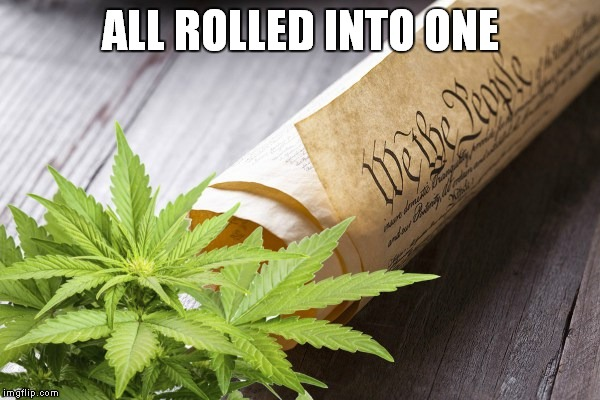 ALL ROLLED INTO ONE | image tagged in constitution-cannabis | made w/ Imgflip meme maker