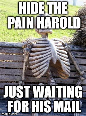 Waiting Skeleton Meme | HIDE THE PAIN HAROLD JUST WAITING FOR HIS MAIL | image tagged in memes,waiting skeleton | made w/ Imgflip meme maker