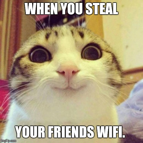 Smiling Cat Meme | WHEN YOU STEAL YOUR FRIENDS WIFI. | image tagged in memes,smiling cat | made w/ Imgflip meme maker