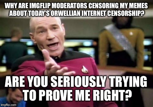 Picard Wtf Meme | WHY ARE IMGFLIP MODERATORS CENSORING MY MEMES ABOUT TODAY'S ORWELLIAN INTERNET CENSORSHIP? ARE YOU SERIOUSLY TRYING TO PROVE ME RIGHT? | image tagged in memes,picard wtf | made w/ Imgflip meme maker