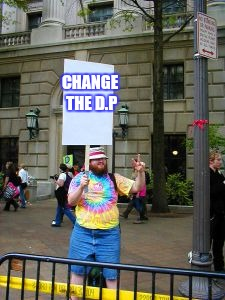 Protester | CHANGE THE D.P | image tagged in protester | made w/ Imgflip meme maker