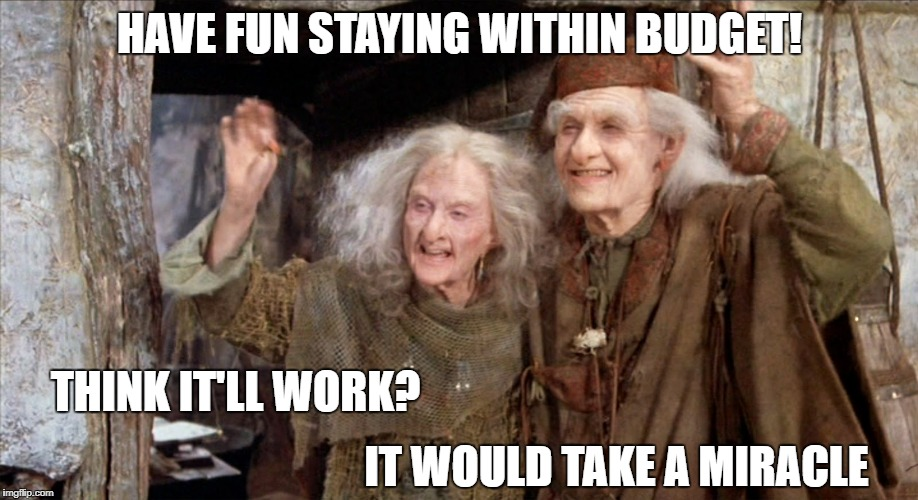 Princess Bride Miracle Max | HAVE FUN STAYING WITHIN BUDGET! THINK IT'LL WORK? IT WOULD TAKE A MIRACLE | image tagged in princess bride miracle max | made w/ Imgflip meme maker