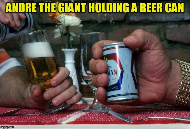 ANDRE THE GIANT HOLDING A BEER CAN | made w/ Imgflip meme maker