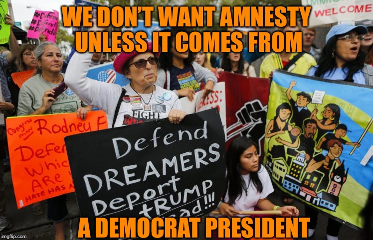 WE DON'T WANT AMNESTY UNLESS IT COMES FROM A DEMOCRAT PRESIDENT | made w/ Imgflip meme maker