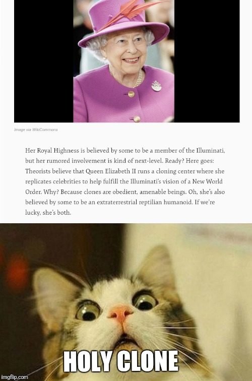 This grandma is living way too long  | HOLY CLONE | image tagged in queen elizabeth,the queen elizabeth ii,illuminati confirmed,illuminati,new world order,christianity | made w/ Imgflip meme maker