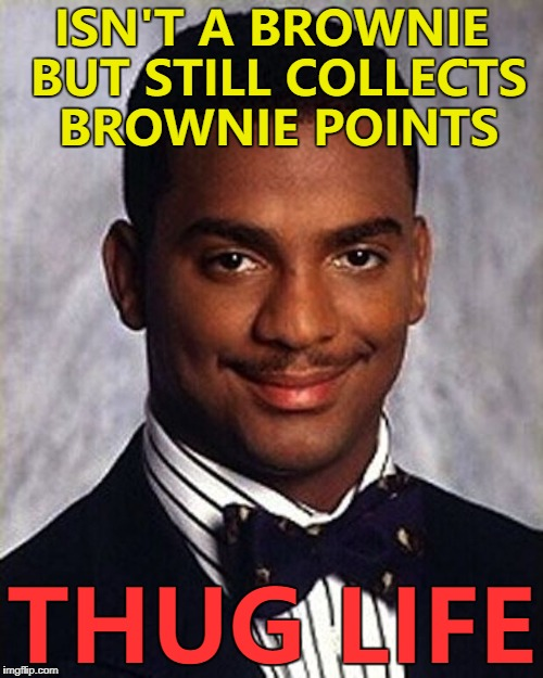 Are brownie points actually brown? :) | ISN'T A BROWNIE BUT STILL COLLECTS BROWNIE POINTS THUG LIFE | image tagged in carlton banks thug life,memes,brownies,brownie points | made w/ Imgflip meme maker