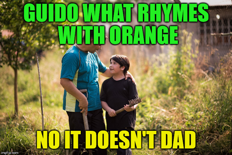 rhymes | GUIDO WHAT RHYMES WITH ORANGE NO IT DOESN'T DAD | image tagged in orange,orange is the new black | made w/ Imgflip meme maker